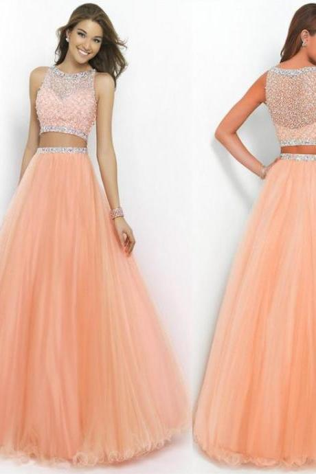 Fashion Two Pieces Handmade Beaded Prom Dress