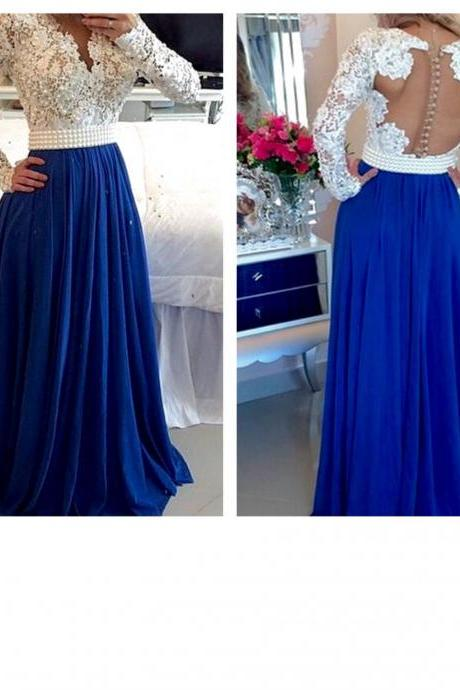 Royal Blue / Ivory Long Sleeves Formal Prom Gown With Beading evening dresses Quinceanera Dresses