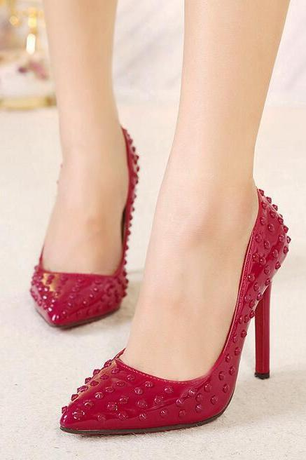 Red Rivets Embellished Patent Leather Pointed-Toe High Heel Stilettos