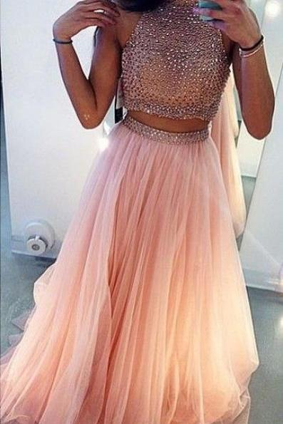 Custom Made Pink Prom Dress, Charming Prom Dress,Beading Prom Dress,2 Pieces Prom Dress,High Neck Prom Dress,Tulle Prom Dress, Dress for Prom, Party Dress