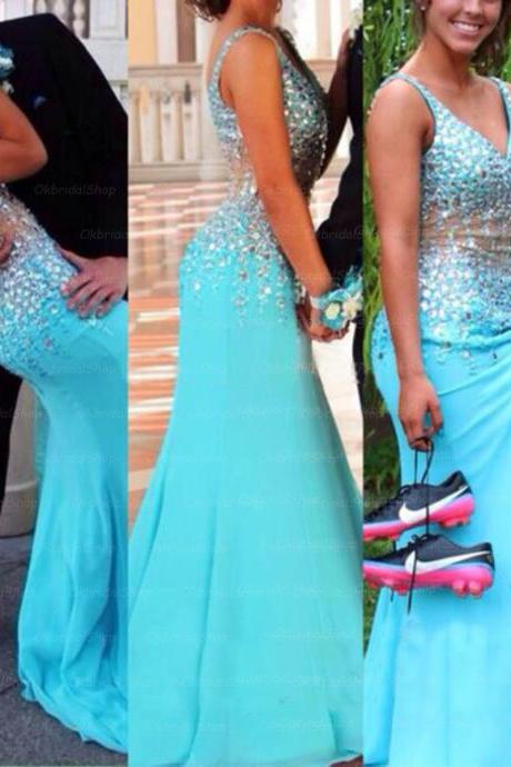blue prom dress, long prom dress, party prom dress, popular prom dress, front open slit prom dress, long evening dress, dress gown