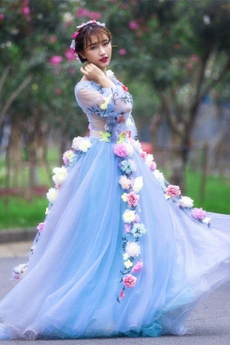Blue Tulle Sheer Wedding Dress With Colorful Flowers Floor Length Long Sleeves Women Formal Gown Dress Custom Made