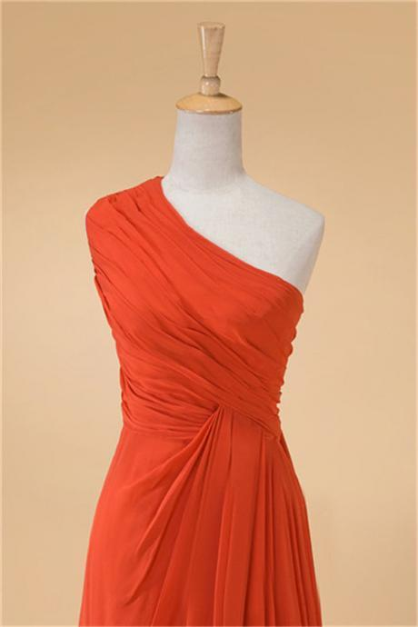 Orange One Shoulder Bridesmaid Dress A Line Pleated Chiffon Long Women Wedding Party Dress Formal Gown Custom Made