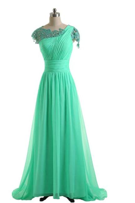 Long Green Chiffon Lace Bridesmaid Dress A Line Cap Sleeves Women Wedding Party Dress Formal Gown Custom Made