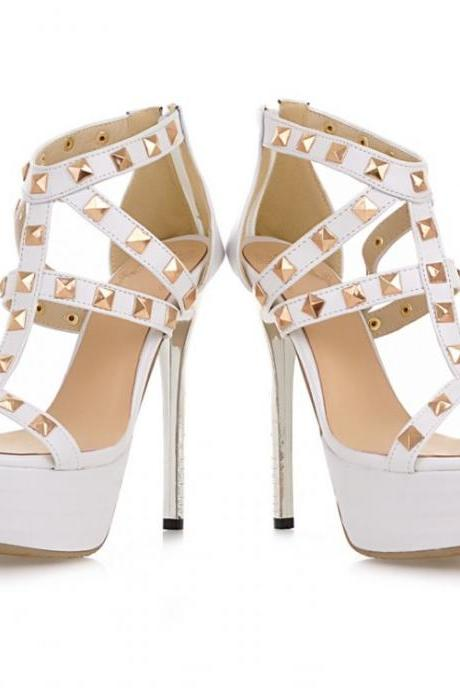 Gorgeous White Studded Gladiator High Heel Sandals