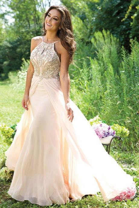 Custom Made Halter Beaded Chiffon Long Prom Dress Evening Dress, Homecoming Dress, Prom Dress