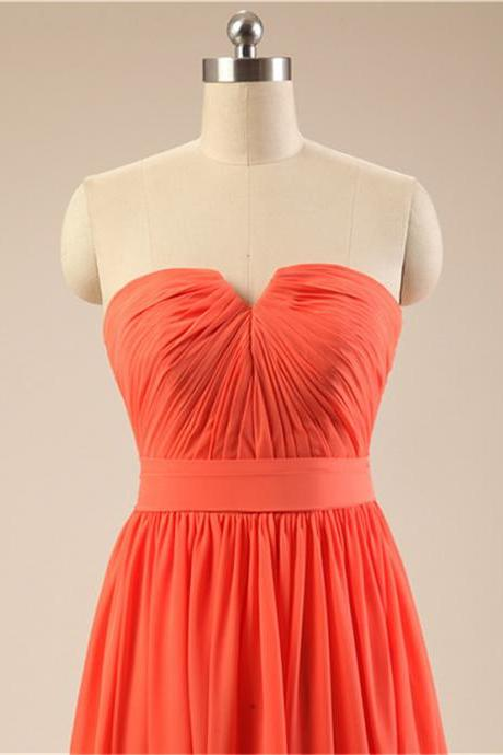 Red-Orange Short Bridesmaid Dress Strapless Pleated Top Knee Length Chiffon Women Wedding Party Dress Custom Made
