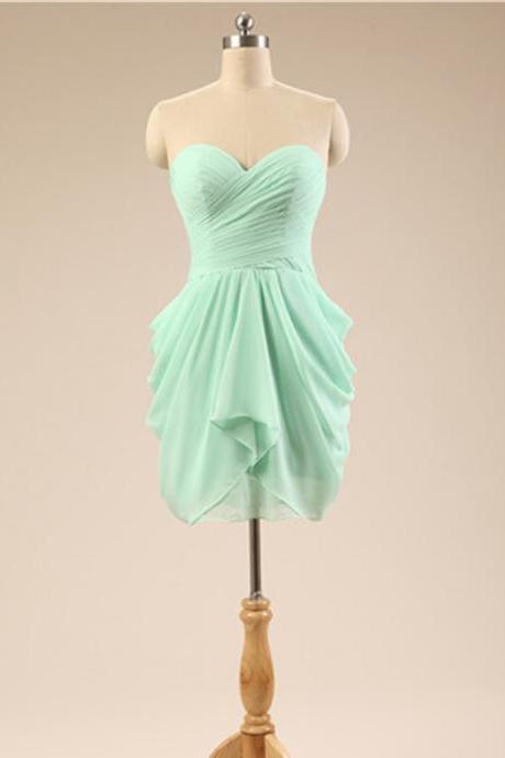 Short Mint Bridesmaid Dress Sweetheart Neckline Affordable Chiffon Women Wedding Party Dress Custom Made