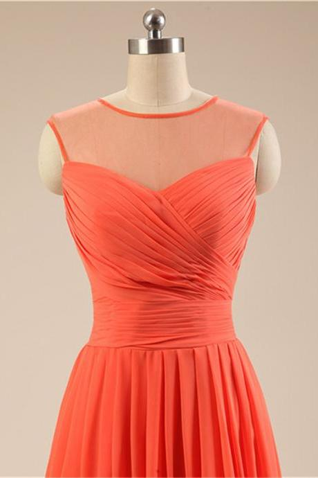 Red-Orange Short Bridesmaid Dress Sheer Neckline Keyhole Back Knee Length Chiffon Women Wedding Party Dress Custom Made