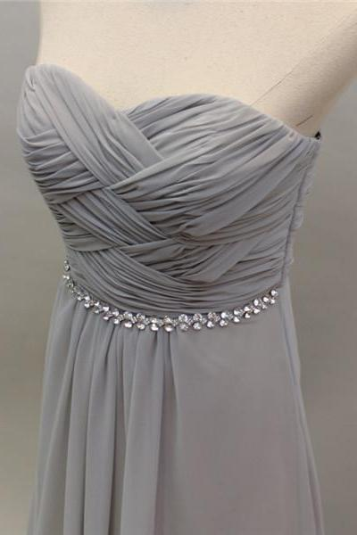 Long Silver Chiffon Bridesmaid Dress With Beads Pleated Top A Line Women Formal Dress For Weddings Custom Made
