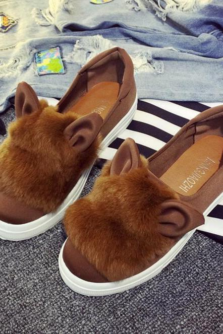 Rabbit fur plush flat flat and round head single shoes, leisure canvas shoes