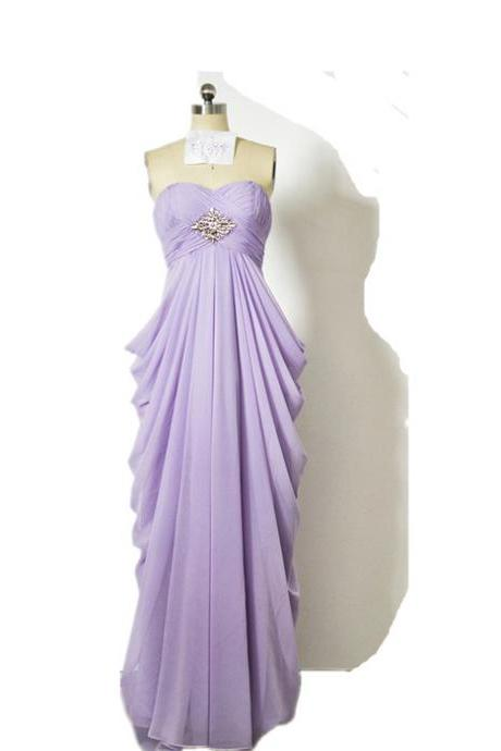 Elegant Long Lilac Bridesmaid Dress High Waist Pick-up Skirt Chiffon Women Formal Dress Gown For Weddings Custom Made