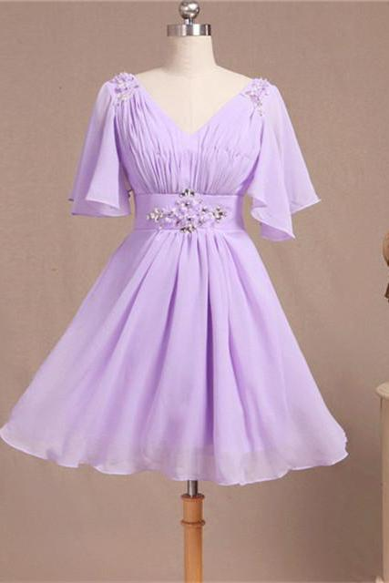 Lilac Short Bridesmaid Dress With Short Sleeves V Neck Beaded Chiffon Women Wedding Party Dress Custom Made