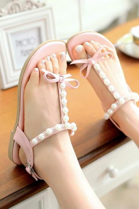 Cute Pearls And Bow Design T Strap Pink Sandals