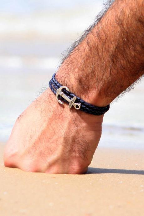 Men's Bracelet - Men's Anchor Bracelet - Men's Leather Bracelet - Men's Blue Bracelet - Mens Jewelry - Jewelry For Men - Gift's For Men