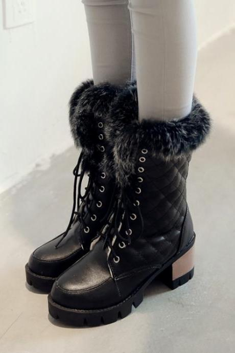 Women's Pure Color Cross strap platform shoes Chunky boots