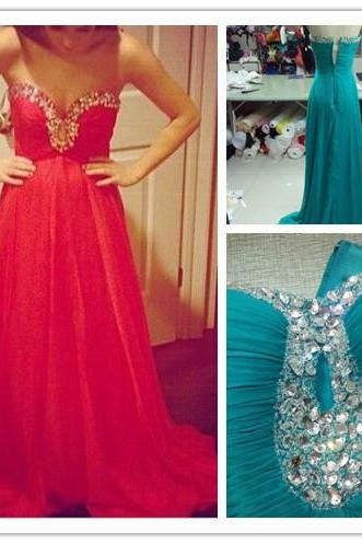 2016 Custom Made High Quality Gorgeous Handmade A-line Chiffon Sweetheart Rehinstones Prom Gowns,Beading Long Evening Dress,Formal Party Dress,Special Occasion Prom Dress,