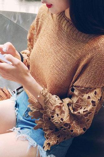 Hollow Lace Flower Raglan Flare Sleeve Sweater