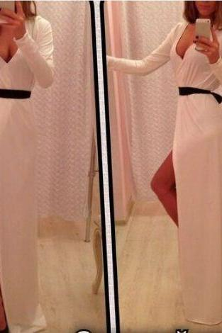 Long Sleeves Prom Dress,White Prom Dress , Elegant Women dress,Party Dress L296