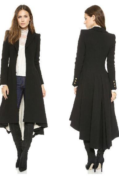 Black Over Coats British Style Tuxedo Manteau Femme Black Long Coats for Women Ruffled Tail Overcoat