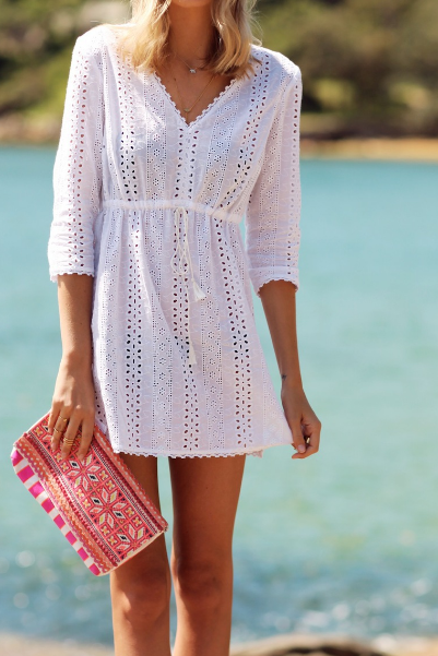 White Lace Short Shift Dress Featuring Plunging Neck and Long Sleeves