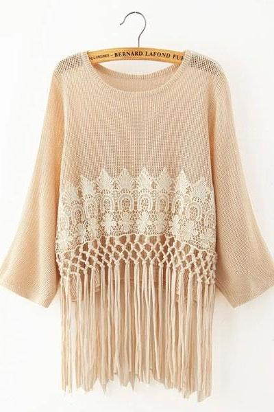 Lace Tassel Loose O-Neck Batwing Sleeve Solid Sweater