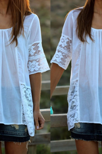 Round neck Chiffon stitching lace t-shirt WE92504PO