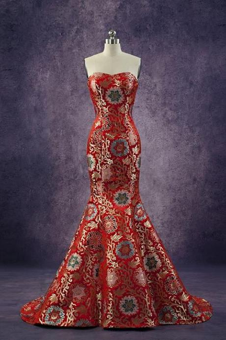 Chic China Satin Brocade Red Women Formal Dress Flower Pattern Strapless Short Tail Mermaid Evening Gown Custom Made