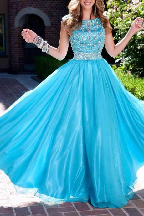 2016 Popular Blue Modest Prom Dresses ,with Scoop Neck Crystal Beads