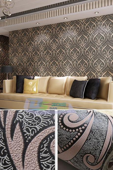 Textured Non-woven Flocking Wallpaper Rolls