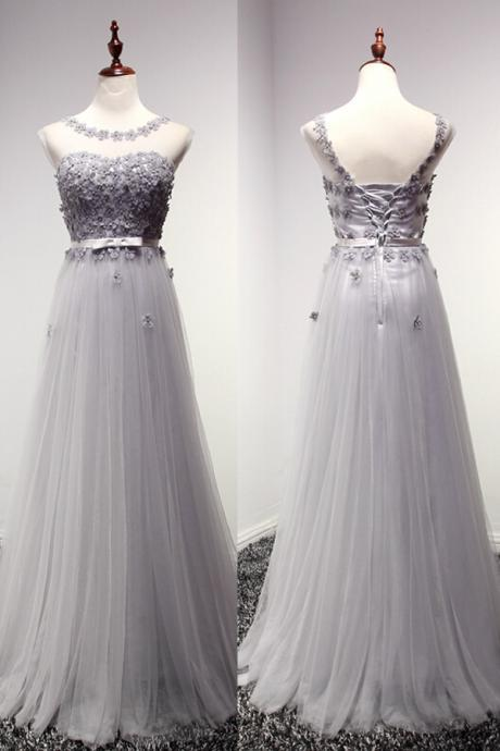 Custom Made A-Line Prom Dress, Evening Dress, Tulle Prom Dress, Grey Prom Dress