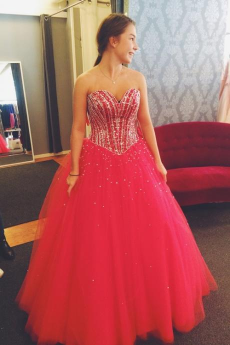 Custom Made Red Prom Dress, A-Line Prom Dress,Tulle Prom Dress, Sweetheart Prom Dress, Beading Prom Dress