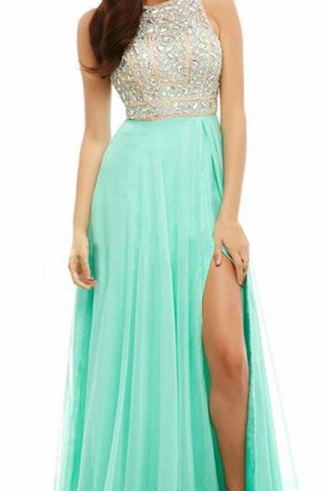 2015 New Design Gold Beaded Bodice Chiffon Skirt Prom Dresses Sparkly Evening Dresses
