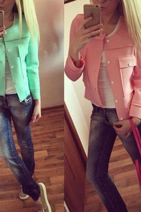 Fashion Vintage Womens Solid Color Casual Jacket Botton Short Coat Outwear Tops