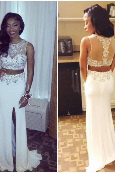 Two Pieces Charming Prom Dresses Elegant Beading Floor-Length Evening Dresses Prom Dresses Real Made Prom Dresses On Sale