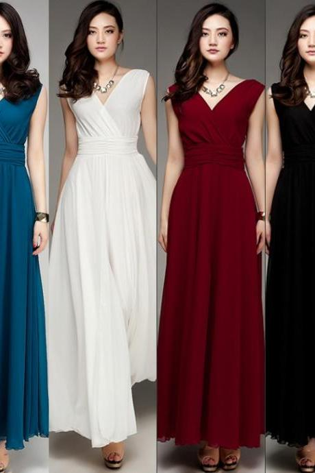 Ankle Length V-neckline Bridesmaid Dress,Short Sleeves Party Dress