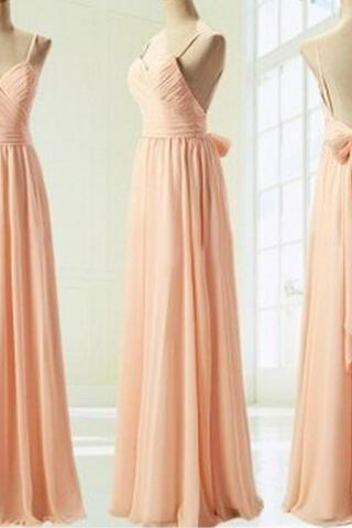 Light Pink Straps Simple Prom Dress With Bow, Simple Prom Dresses 2016 Formal Dresses Evening Dresses