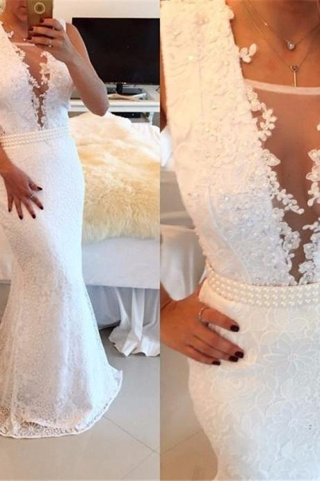 Pure White Prom Dresses Sexy Prom Dresses Deep V Neck Prom Dresses Mermaid Prom Dresses Lace Prom Dresses Floor Length Dresses Beaded Prom Dresses