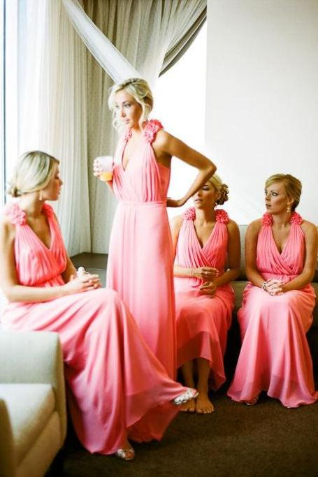 A Line V Neck Chiffon Long Coral Bridesmaid Dresses 2015 Brides Maid Dress With Handmade Flowers