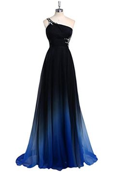 Gradient Prom Dress,Ombre Evening Dress,Beaded One Shoulder Prom Dresses,Royal Blue Prom Gowns,Chiffon Formal Gowns,Teens Bridesmaid Gown For Teens