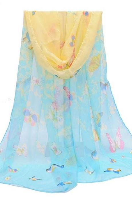 Butterfly autumn blue fashion colorful woman scarf