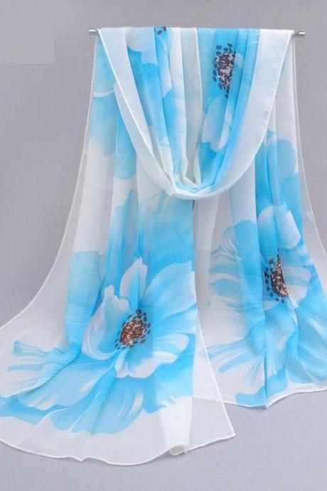 Flowers blue colorful spring autumn woman scarf
