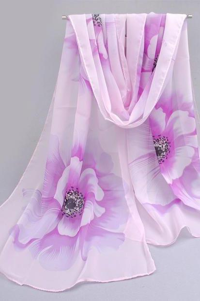 Flowers purple colorful spring autumn woman scarf