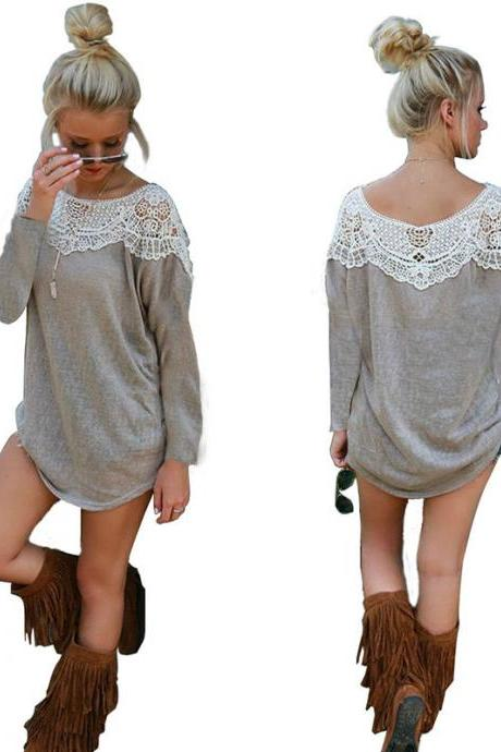 women long Sleeve lace BLOUSE loose T Shirt Sweater Tops pullover Top Blouse new