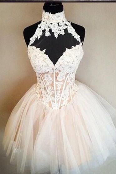Lovely Lace Appliques Short Prom Dress, High Neck White Short Party Dress,Short Homecoming Dress,Custom Graduation Dress,Dress For Prom,Cocktail Dress