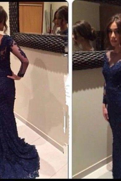 Navy Blue Prom Dresses,Lace Evening Dress,Prom Gowns With Sheer Long Sleeves,Mermaid Prom Gown,Beautiful Lace Formal Gown