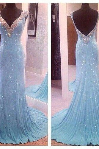 Light Blue Prom Dresses,Sequin Evening Dress,Sequined Prom Gowns,Open Back Prom Gown,Beautiful Formal Gown,V neck Evening Dress,Beaded Prom Dress