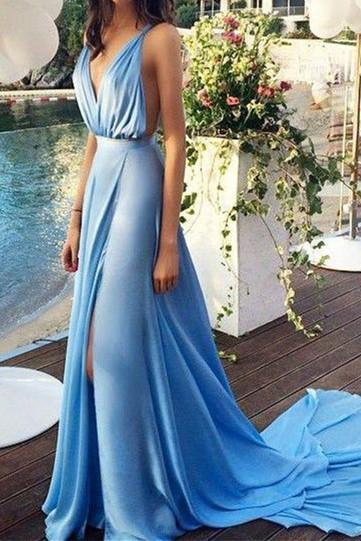 Blue Prom Dresses,Chiffon Evening Dress,Slit Prom Gowns,V neckline Prom Gown,Beautiful Formal Gown,Prettiest Evening Dress,2016 Backless Prom Dress