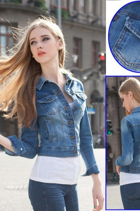 Medium Washed Cropped Denim Jacket