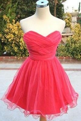 Cute Short Tulle Red Homecoming Dresses, Red Prom Dresses, Short Formal Dresses